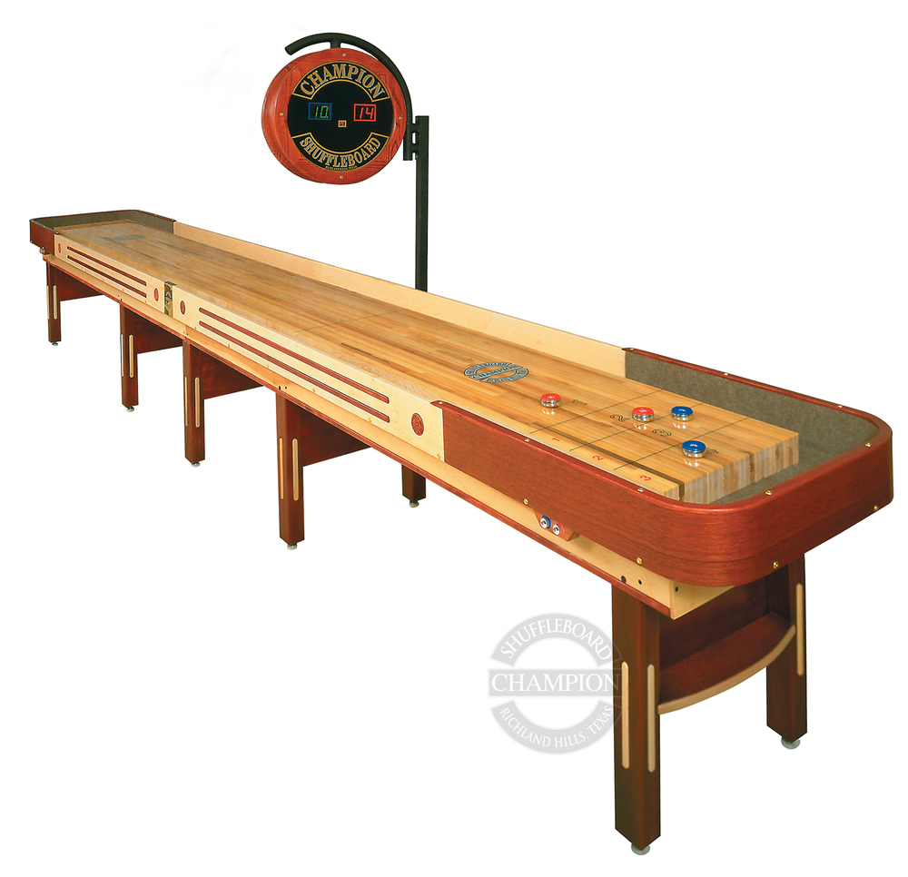 "The Grand Champion Limited Edition     Specifications  Playfield Size:   3"" thick x 20"" wide  Cradle Lengths:  12' - 22' (22' tournament size)  Width:  31"" without scoring unit; 36"" with scoring unit  Height:  30"" to the top of the playfield  Weight:  50 lbs per foot (approximate)"
