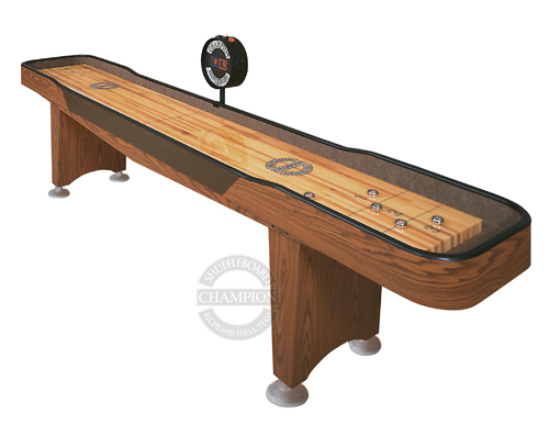 "Champion Qualifier Specifications Playfield Size:  1 1/2"" thick x 16 1/2"" wide Cradle Lengths:  9', 12' and 14' Cradle Width:  24"" Height:  30"" to the top of the playfield Weight:  300 lbs (approximate)"
