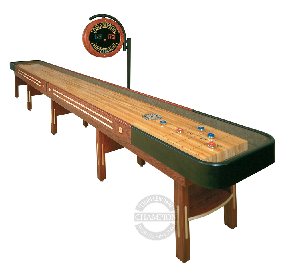 "The Grand Champion  Specifications  Playfield Size: 3"" thick x 20"" wide  Cradle Lengths:  12' - 22' (22' tournament size)  Width:  31"" without scoring unit; 36"" with scoring unit  Height:  30"" to the top of the playfield  Weight:  50 lbs per foot (approximate)"