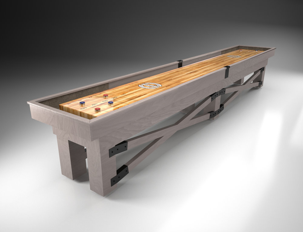 Champion Rustic Shuffleboard in rustic grey on oak