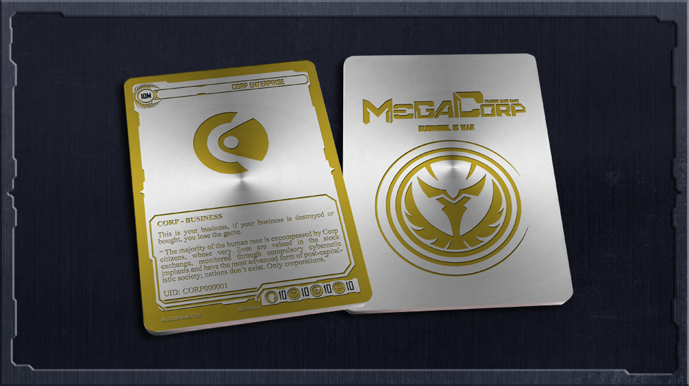 Metal Business Card: Corp — Megacorp Trading Card Game