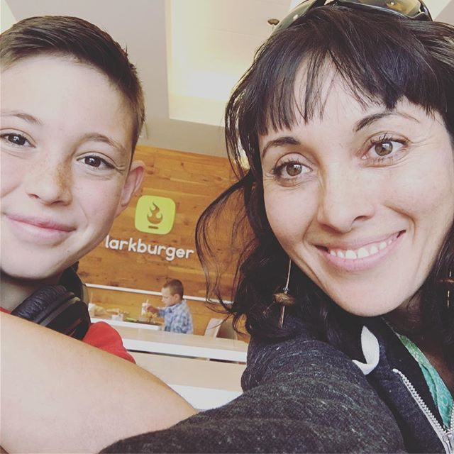 Haircuts and hamburgers with my favourite bud... #wholefoodsdiet #fitmom #momofboys #ilovetotravel