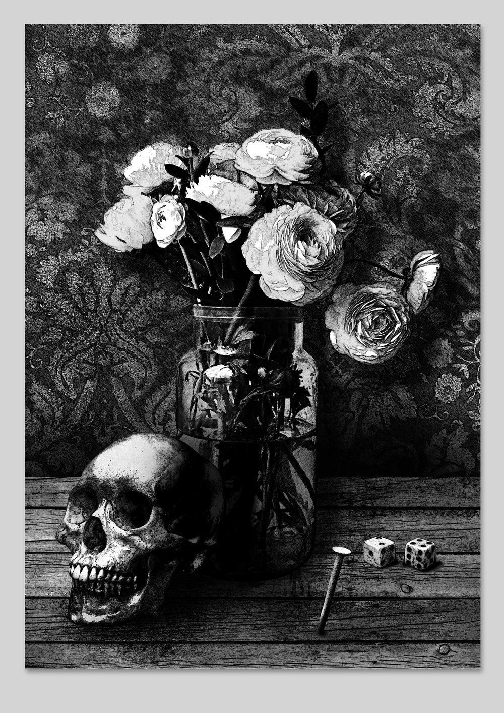 Still Life with Skull, Dice and Rusty Nail , 2016 Archival print on Somerset Velvet 325gsm 42 × 27.9 cm Edition of 25