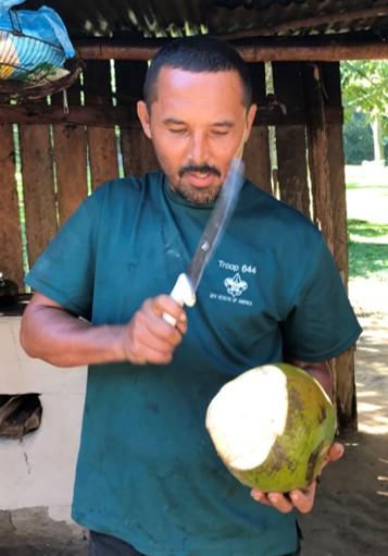 The Caretaker (Edwin) Cutting open some Fruit