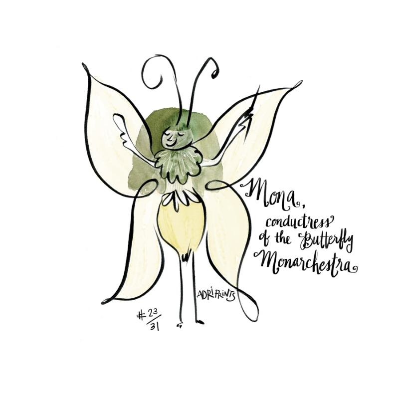 Mona, conductress of the Butterfly Monarchestra, the orchestra of the monster bug world.