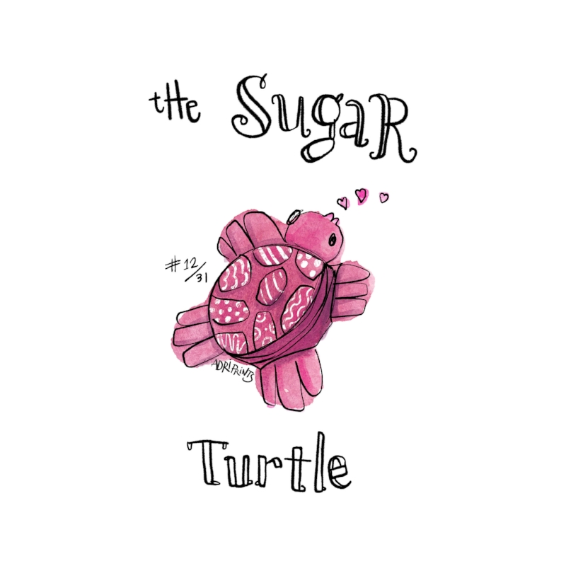 Soaring through fluffy clouds up high, She knows only love, the sea, and sky. The Sugar Turtle.