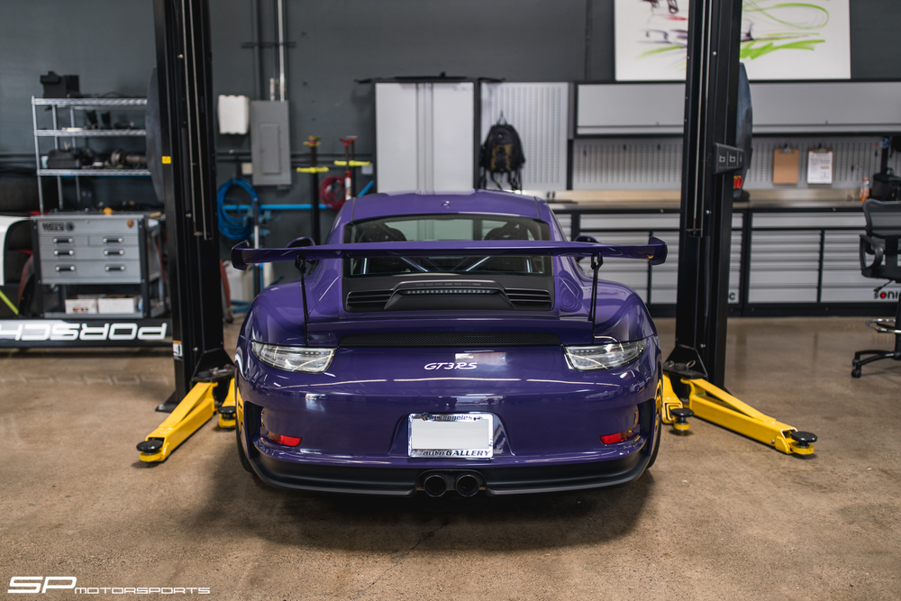 This particular Ultra Violet 991 RS belongs to Caitlyn Jenner. I believe her car is in to get BBi's streetcup harness bar along with some other goodies.
