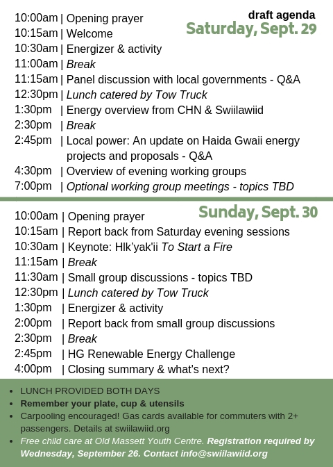 The Haida Gwaii Renewable Energy Symposium is fast approaching! - Take a sneak peek at the agenda.View PDF version here.