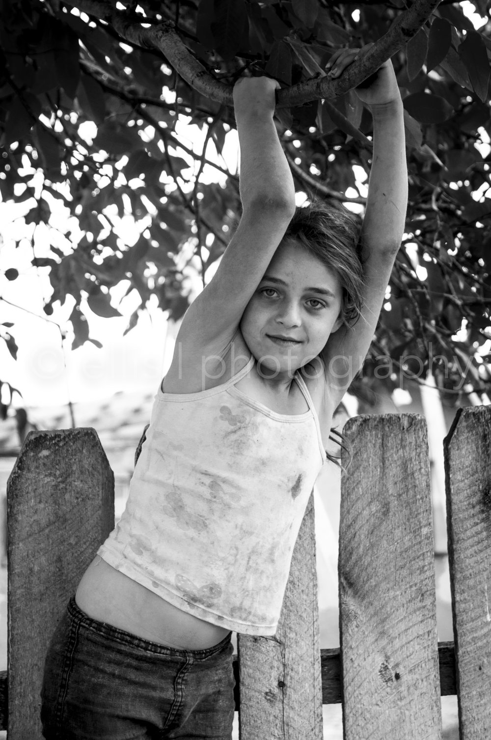 Ellis Peeters Photography took a daily life picture of a beautiful gipsy girl in Romania. Leaning against a fence and holding on to a branch of a tree. Portraits of a Romanian Family.