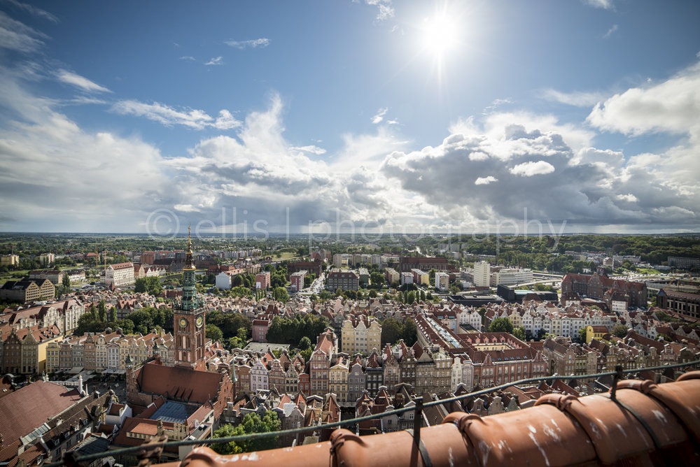 View from the St. Maria's church of the city of Gdansk,with a wideangle Nikon lens.Sun gives an amazing lookout. Photo taken by Ellis photography