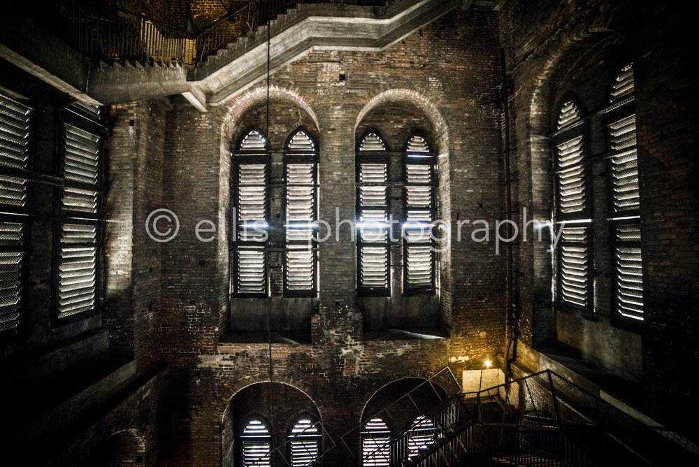 Windows inside of the St. Mary's church of Gdansk, Poland, Europe. The light through the window gives a lot of contrast.