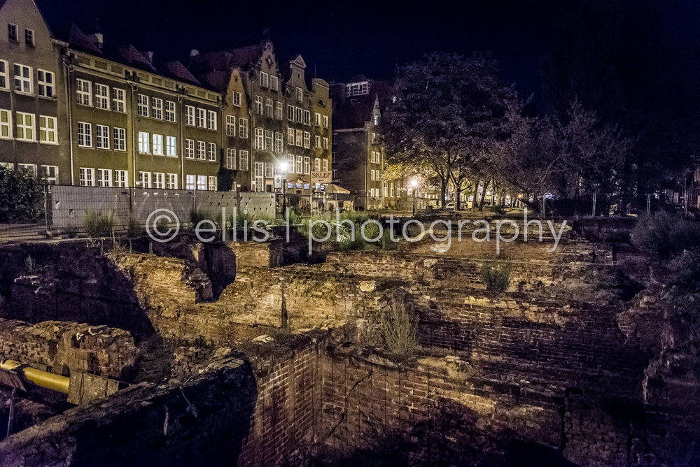 Ruins of Gdansk, Poland, Europe, still from the world war 2. Dutch architecture houses on the background. Travel and photograph.