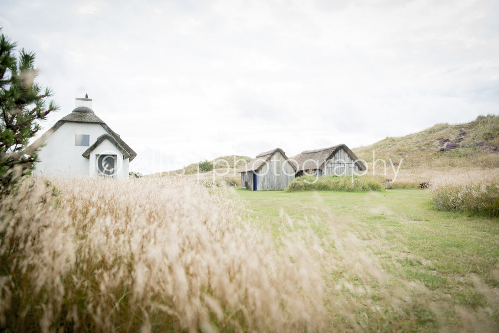 White house with a straw roofing in the openfield. Very peaceful photo taken by Ellis Photography. 2 sheds on the side. Wind shown in the nature. Landscape photography.