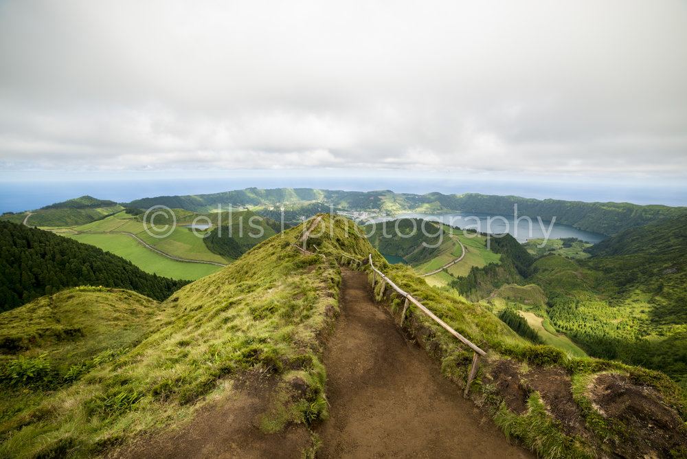 Boca Do Inferno viewpoint. Hiking trail adventure. Walking path on the beautiful look out - view on the lakes of Sete Cidades. Green Island Sao Miguel, of the Azores, Portugal.