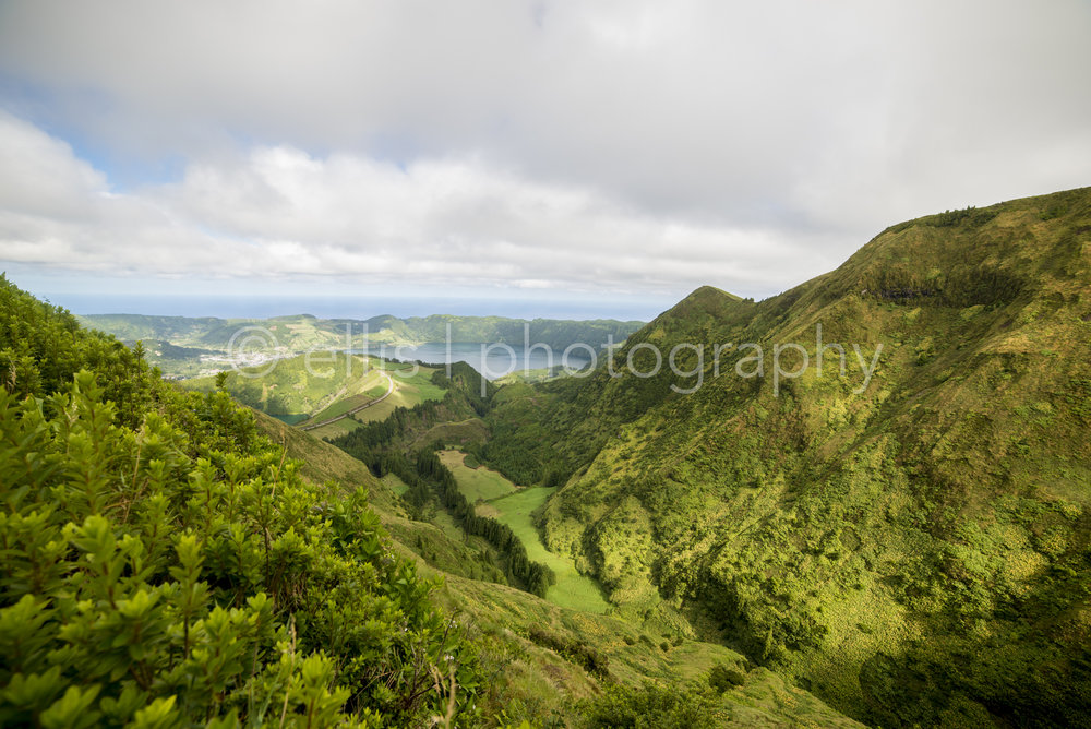 Green mountains of Sete Cidades, Azores Portugal. Clouds and lakes on the background