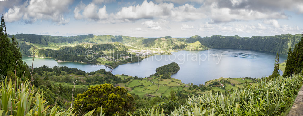 Panorama view of the lagoons of Sete Cidades. Travel photography of Ellis.