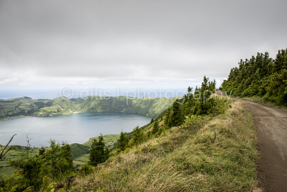 End of the island Sao Miguel, Sete Cidades. Ellis photography taken the picture from op the top of a mountain. Great landscape and panorama view.