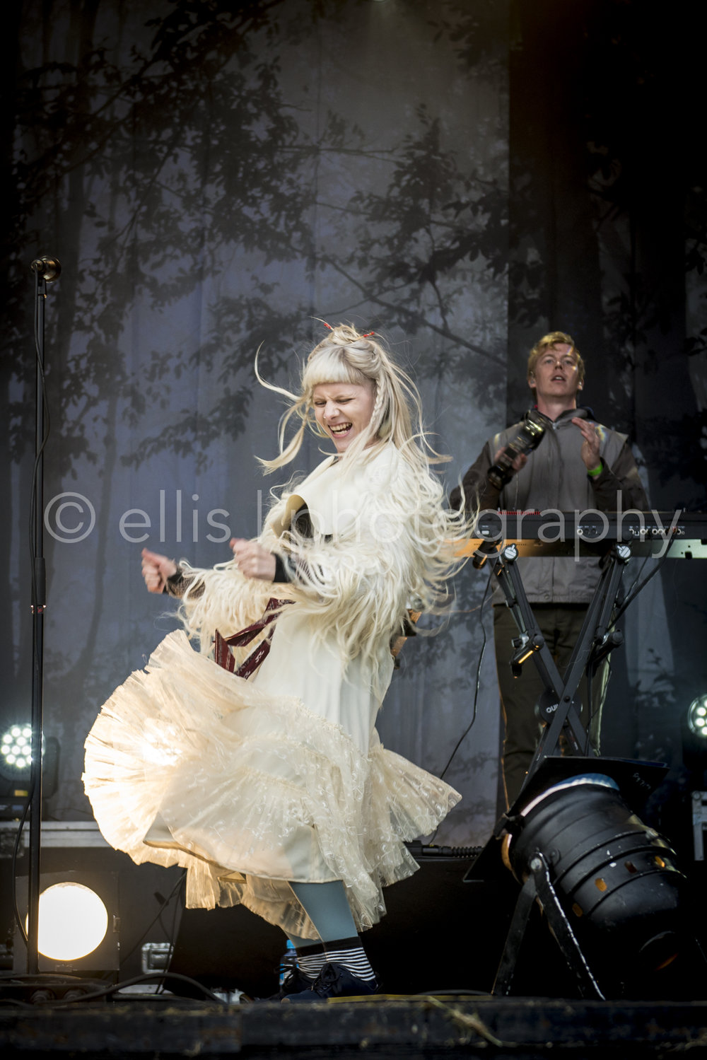 Aurora singer songwriter going wild and crazy during her performance of the festival on Træna, island of Norway. Ellis Peeters Photography