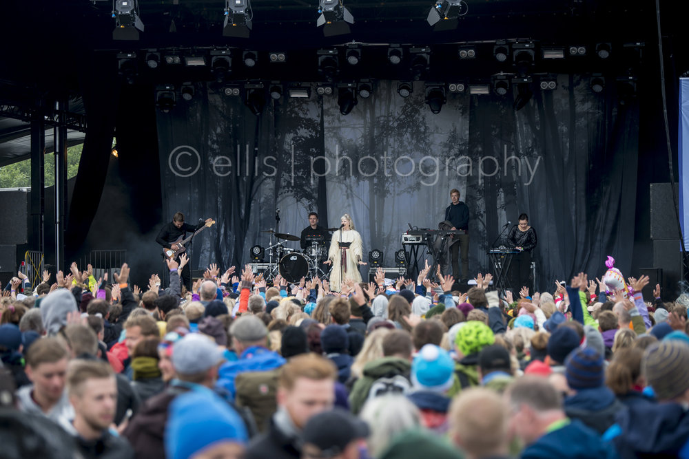 Big group of fans in front of Aurora, the singersongwriter from Norway. Fairytale show during Træna festivalen.