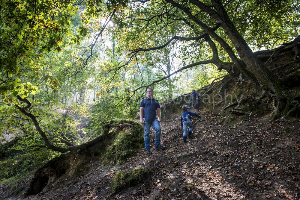 Opa is met zijn kleinkinderen in het bos. Tijdens een day in the life familiefotografie zijn zij heerlijk aan het spelen met als resultaat ongedwongen foto's door Ellis Photography.