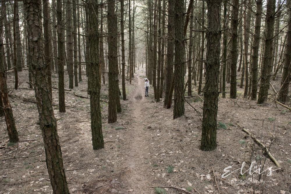 Spontane en ongedwongen foto's van kind in het bos.