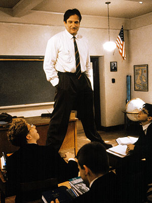 Robin Williams as Mr Keating in Dead Poet's Society.