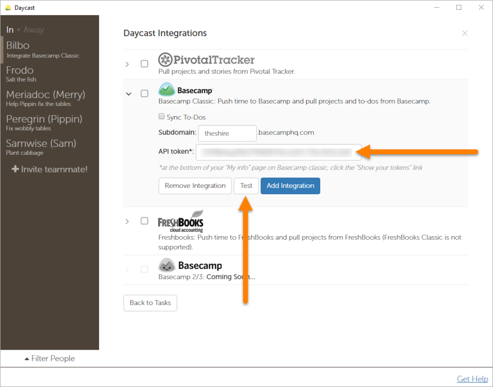Integrate Basecamp Classic with Daycast Day Planning App