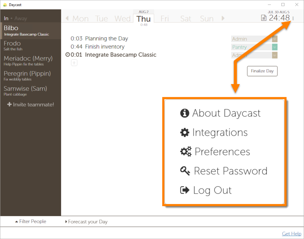 Integrate Basecamp Classic with Daycast Day Planner