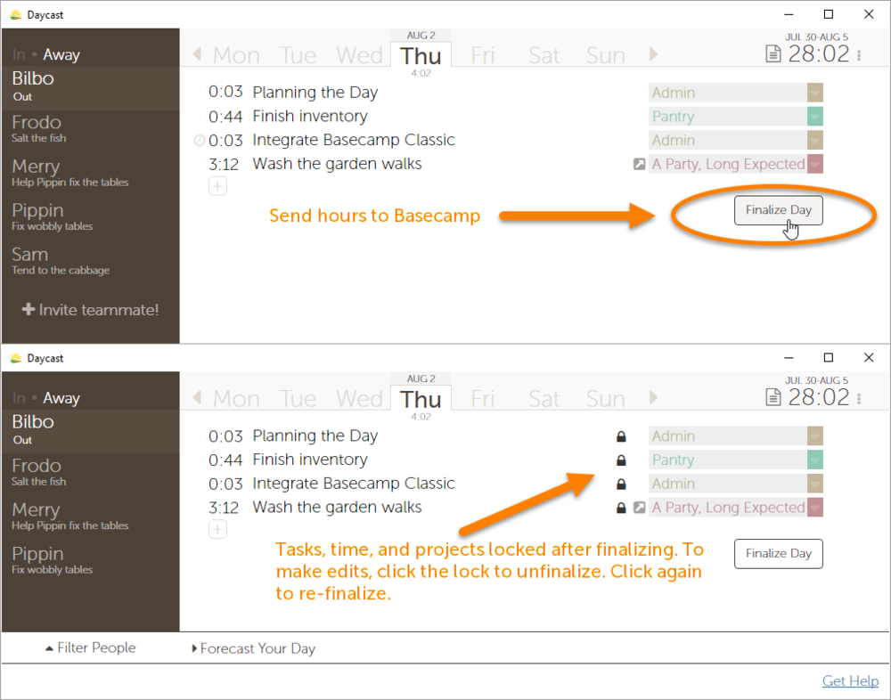 Basecamp Classic Time Tracking Integration