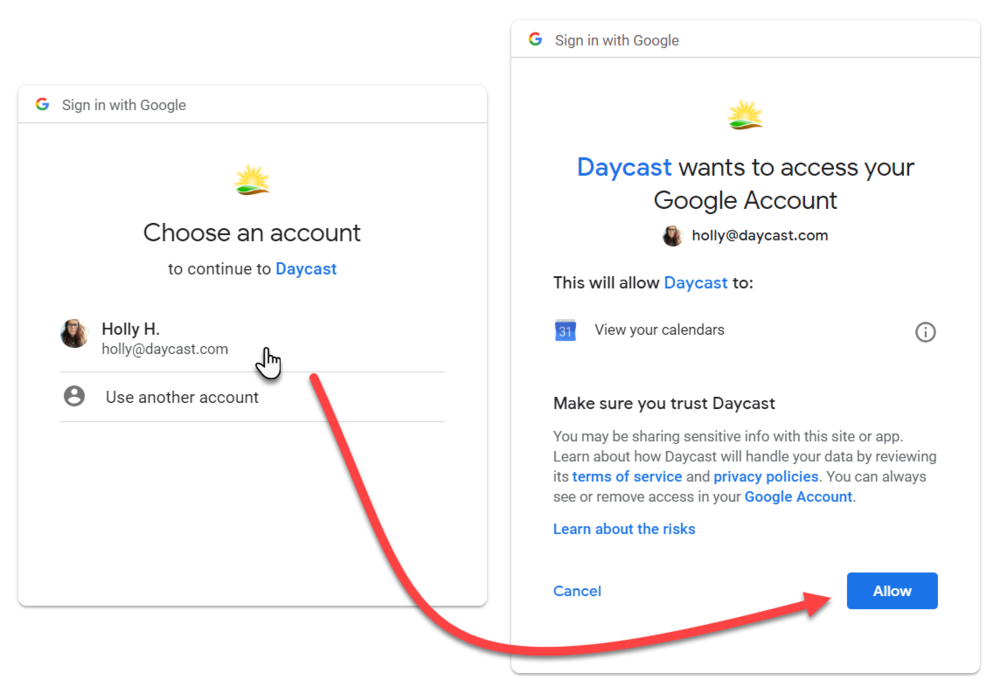 Integrating Google Calendar with Daycast
