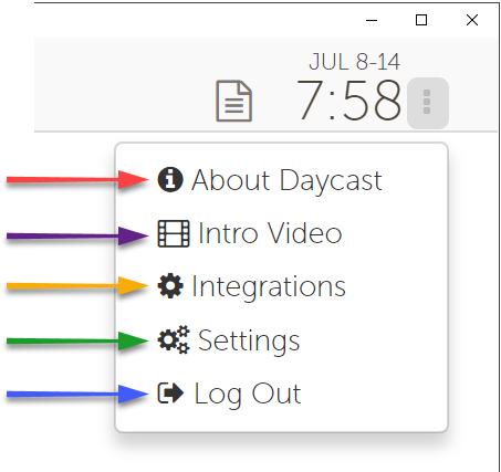 Daycast options menu