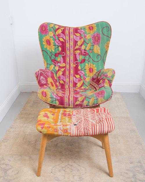Scandinavian Style Mid Century Chair And Ottoman
