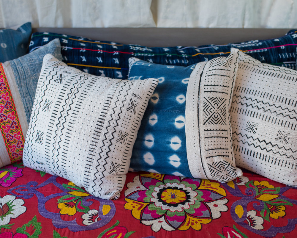 A closer look at the combination of texture and culture making a very funky and bohemian style. These pillows can easily be added to your living space.
