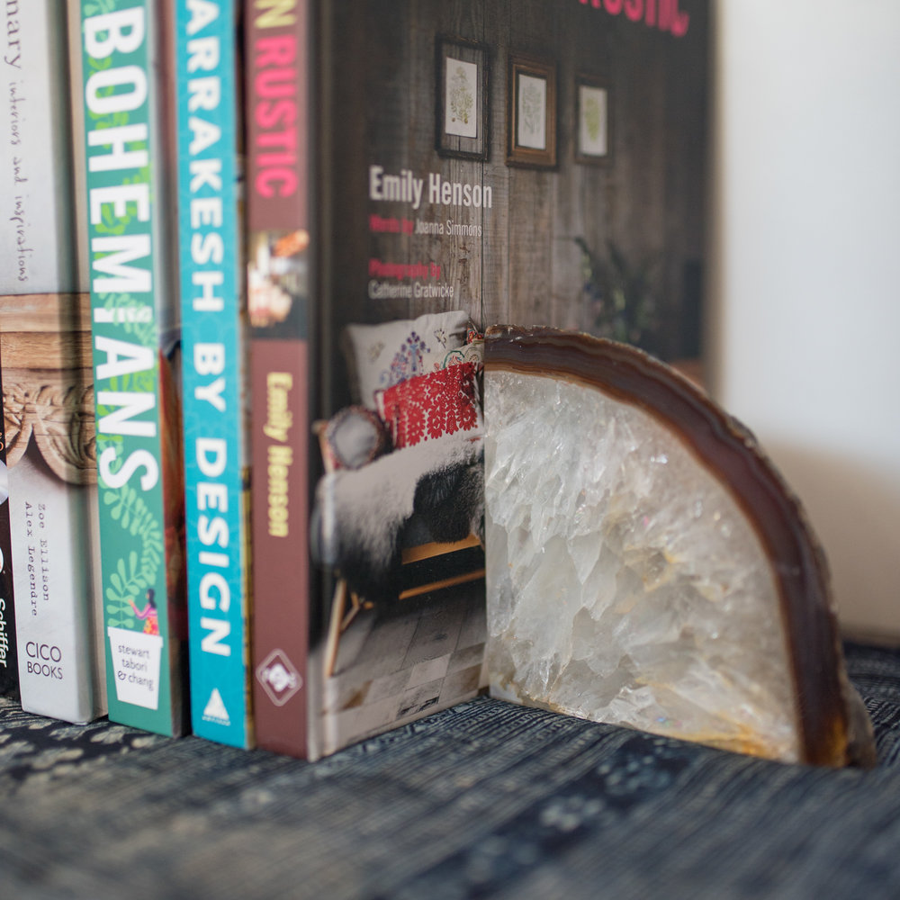 Stones and books make a great bohemian addition to living spaces.
