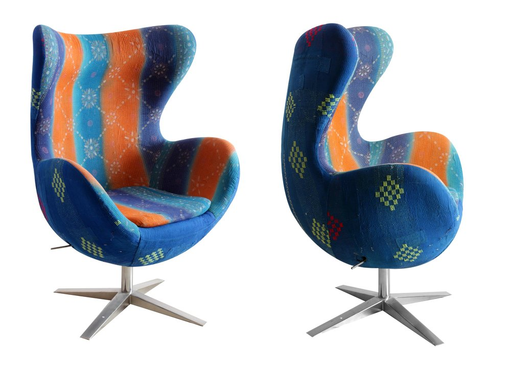 Each chair is designed by Sunnyside using vintage Indian fabric.