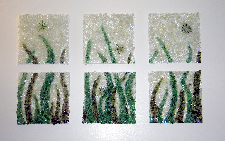 """Crushed Blades 14.5""""14.5""""x4"""" each panel"""