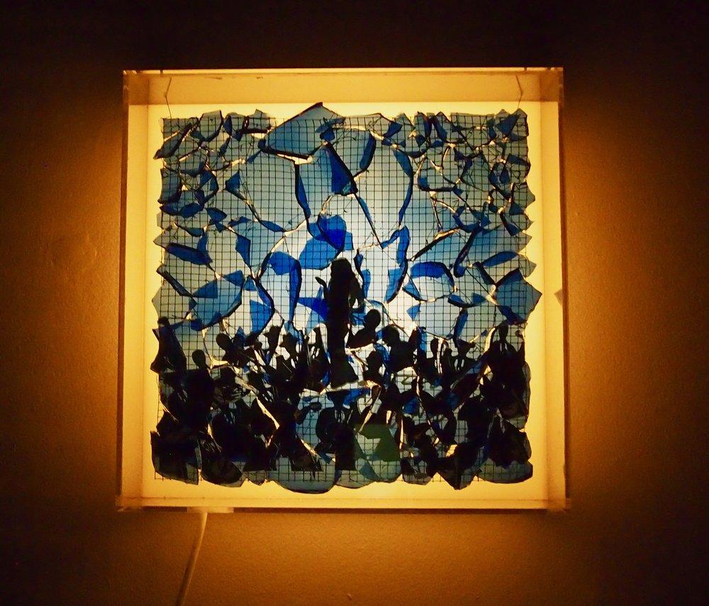 "Jazz in Blue Minor: Portrait of  Jenn Jade  12""x12""x6"""