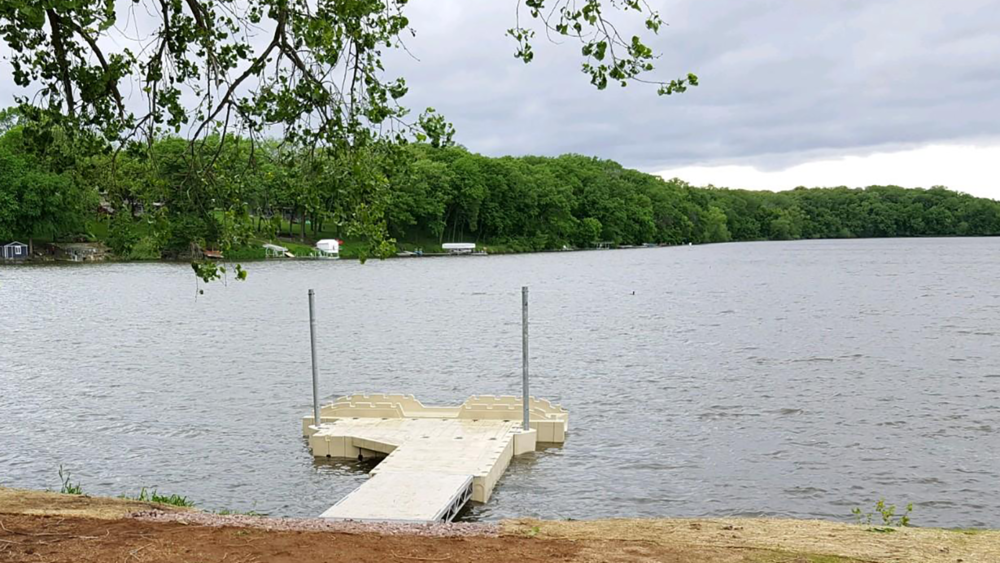 The new kayak dock & launch is located on the south shore of Amber Lake in Fairmont, Minn.