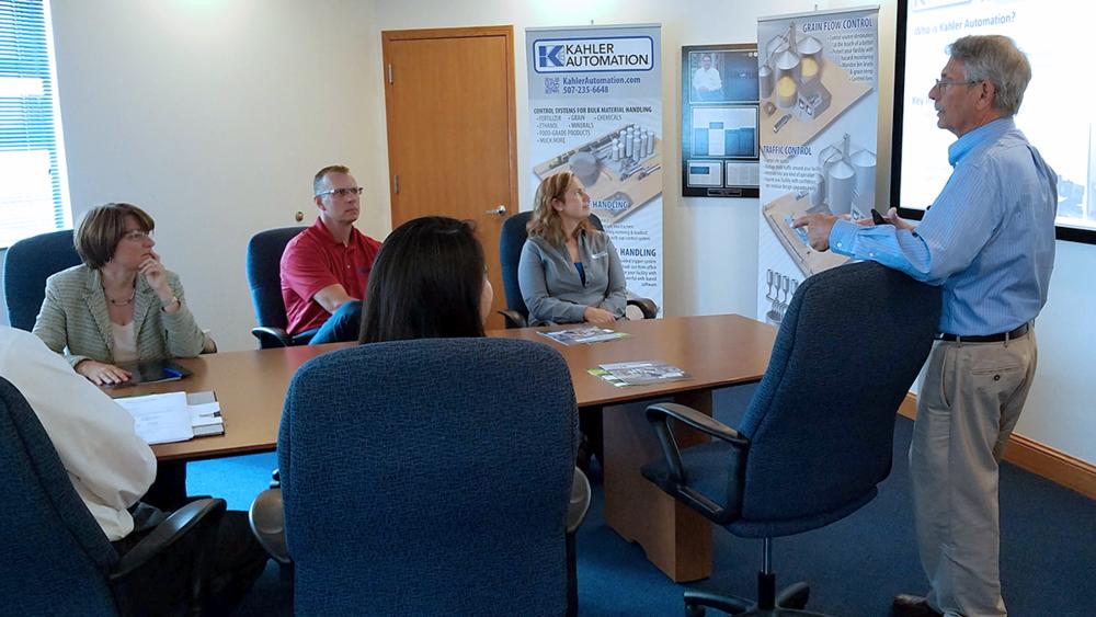 FROM LEFT: U.S. Sen. Amy Klobuchar; Kahler Automation CEO Dave Cone; Kahler Automation CFO Chantill Kahler Royer; Kahler Automation Founder & Chairman Wayne Kahler