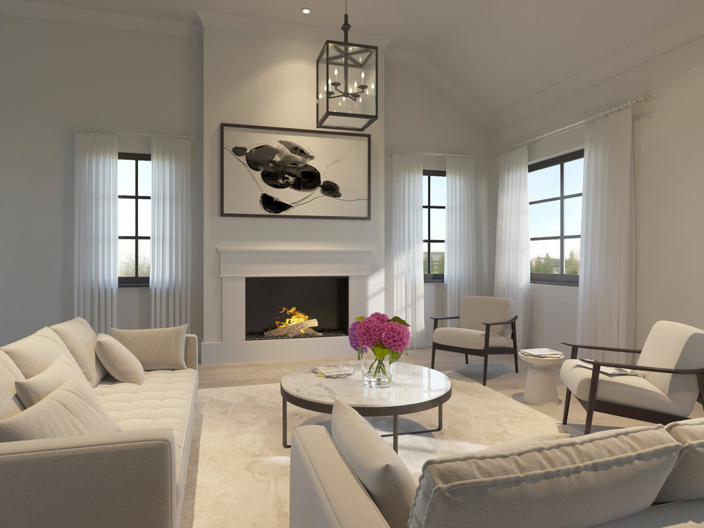 Interior Rendering of Mongomery Square Living Room