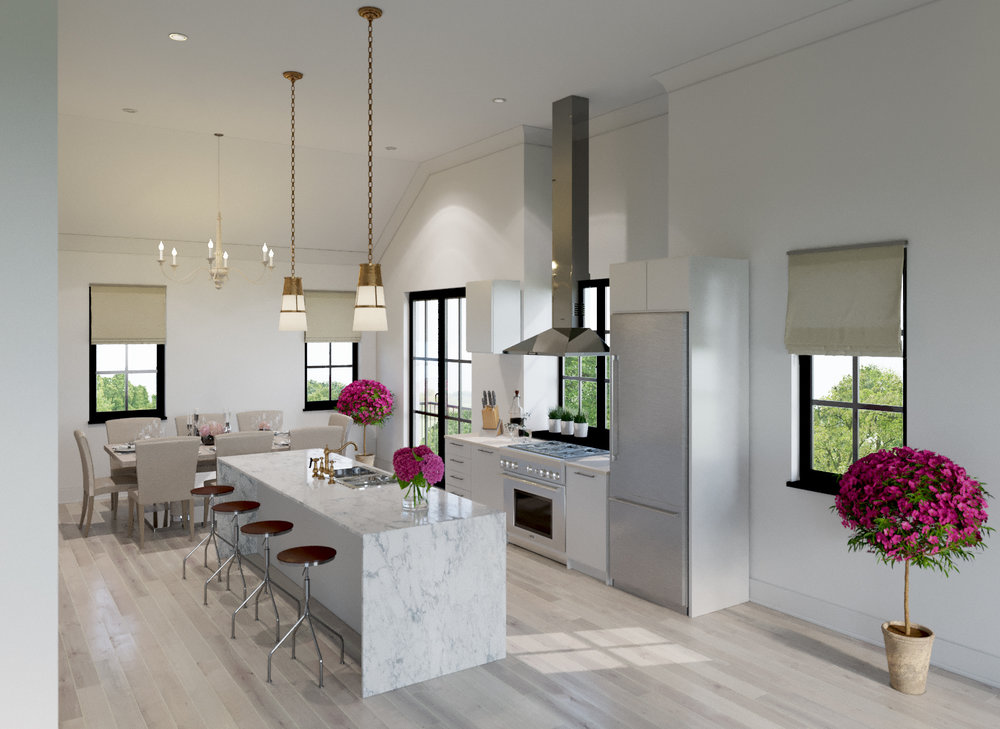 Interior Rendering of Mongomery Square Kitchen and Dining Room