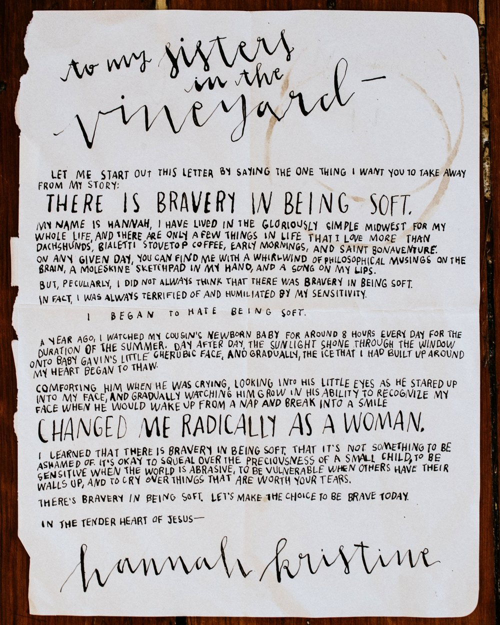 Hannah Bruckner Letter to Women Bravery in Being Soft