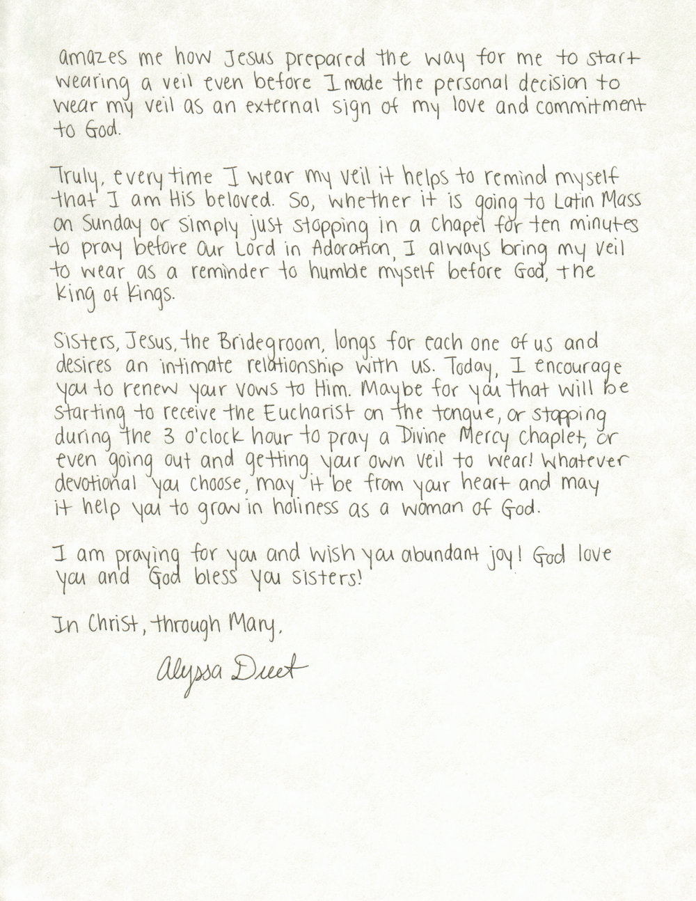 Alyssa Duet Letter to Women The Catholic Woman 2