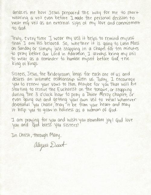 alyssa duet letter to women the catholic woman 2
