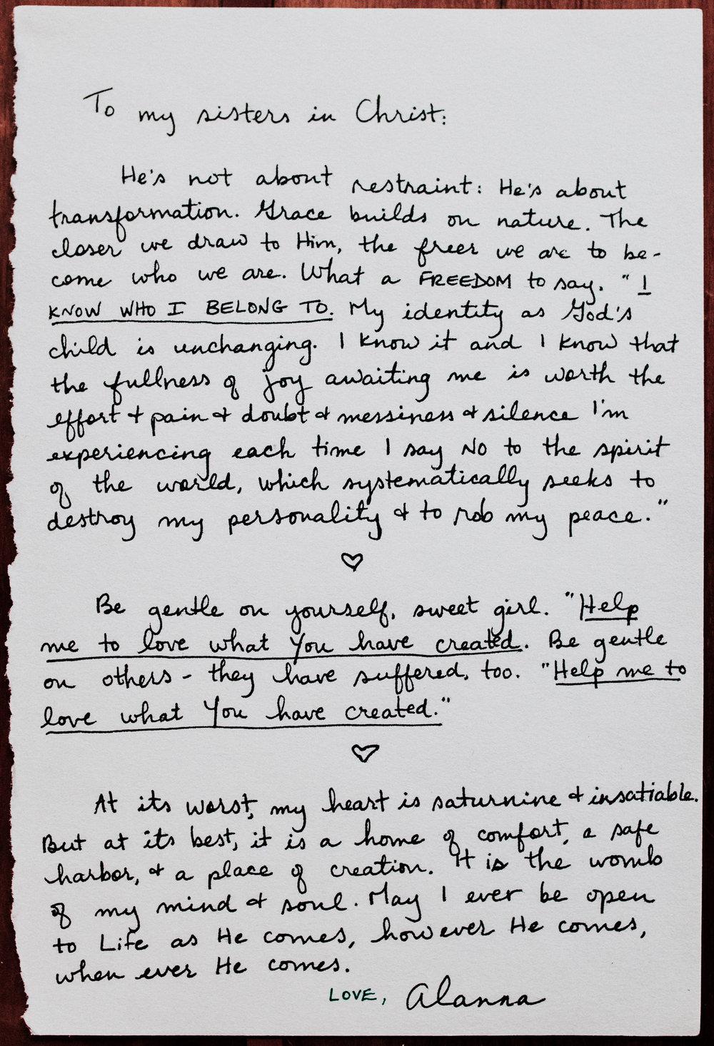 Alanna Boudreau A Letter to Women