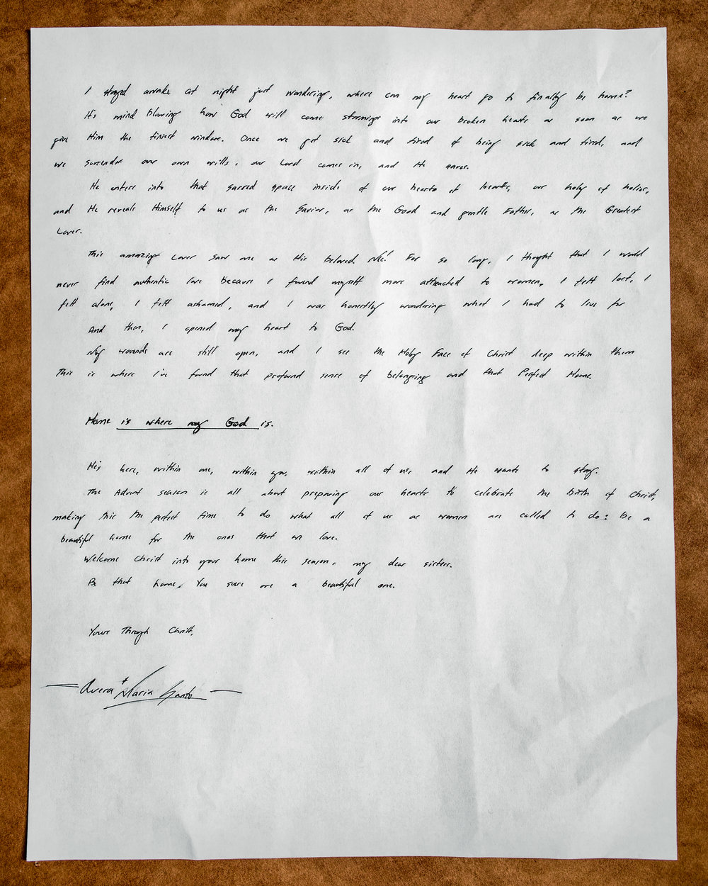 Avera Maria Santo Letter to Women 2