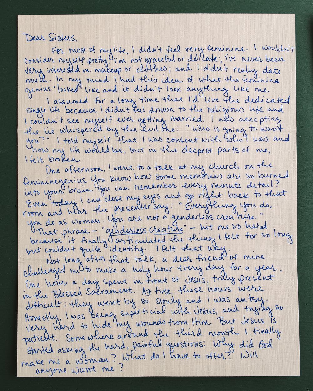 Megan Swaim Letter to Women 1