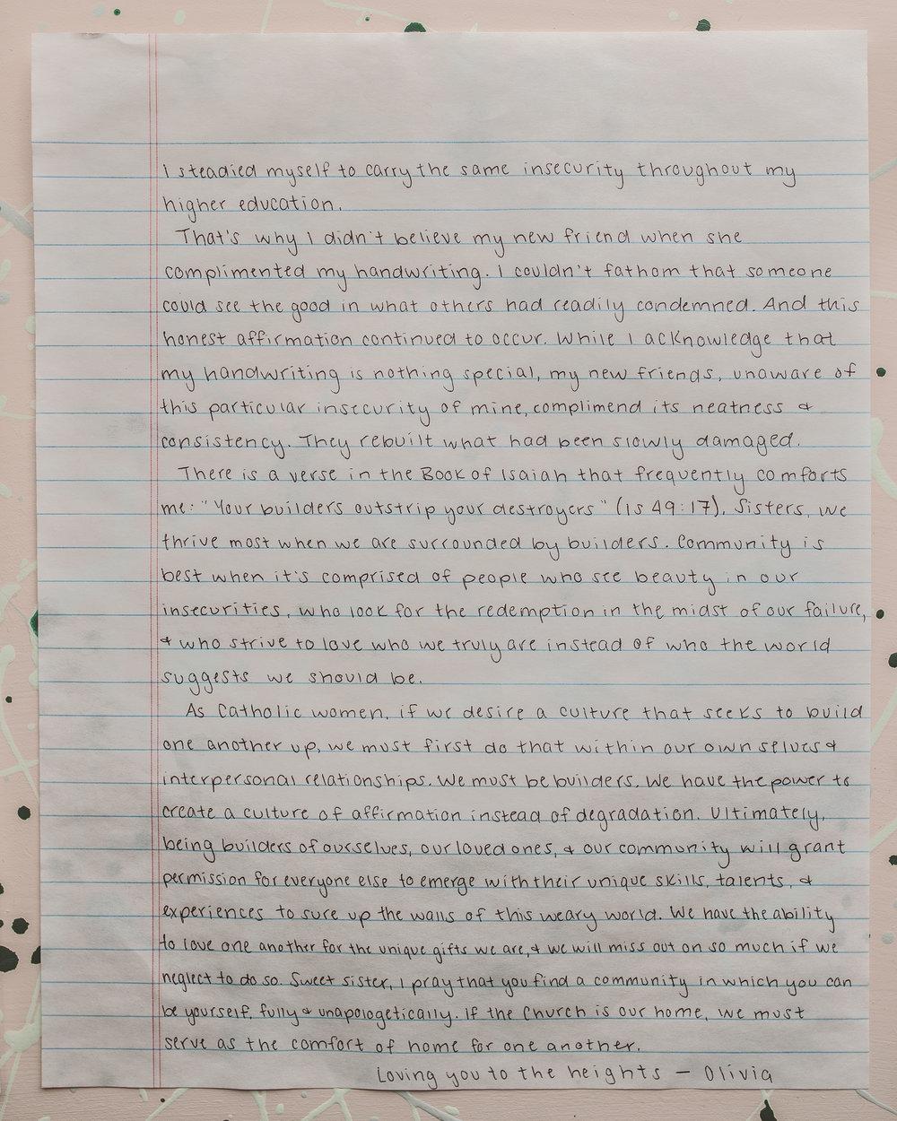Olivia Spears Letter to Women 2