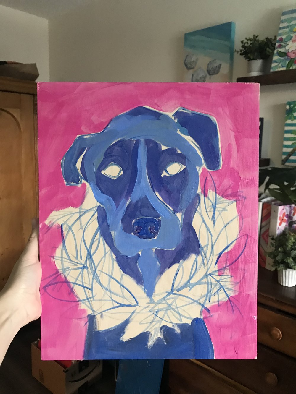 Colorful pink background under paint. Blue under paint for pup.