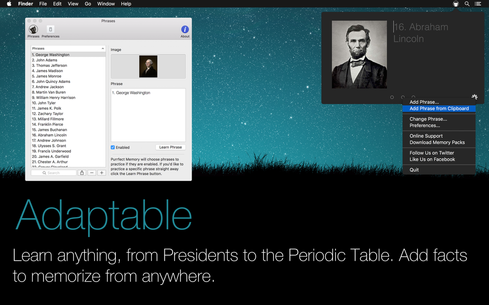 Adaptable: Learn anything, from presidents to the periodic table. Add facts to memorize from anywhere.
